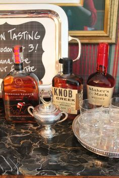 Bourbon tasting bar at the Kentucky Derby Party