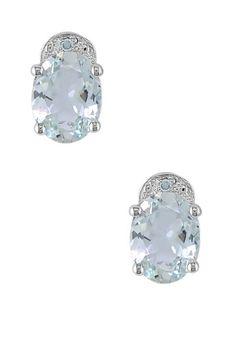 14K White Gold Oval Aquamarine & Diamond Pin Earrings Hair Jewelry, Jewlery, Fashion Jewelry, Women Jewelry, Aquamarines, Aquamarine Earrings, Ear Rings, Gem Stones, Art Deco Jewelry