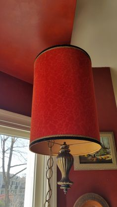 Mid Century Spanish Swag Lamp Red Burnout Velvet Drum Lampshade by GladStoneatHome on Etsy