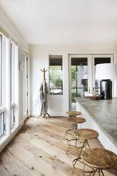 contemporary rustic interior featuring wide plank reclaimed diagonal wood flooring and concrete countertops Farmhouse Flooring, Wooden Flooring, Flooring Ideas, Plywood Floors, Wide Plank Flooring, Rustic Hardwood Floors, Plywood Furniture, Kid Furniture, Unfinished Wood Floors