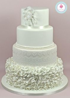 Camilla - Ruffles, Pearls and Lace Wedding Cake  - Cake by Fancy Cakes by Linda
