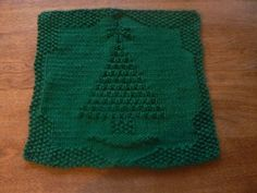 Hand Knit Holiday Tree All Cotton Picture Dishcloth or Washcloth ...