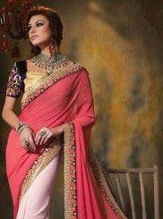 Preety Pink Resham Border Work Wedding Saree #hennaheels