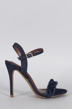 Shoe Republic Denim Distressed Fluff Open Toe Heel