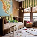 Daybed and map  boy's rooms - brown taupe velvet nailhead trim. settee sofa world map globe mobile black pendant light bamboo roman shades ivory green striped roman shade brown taupe walls paint color boy's room playroom