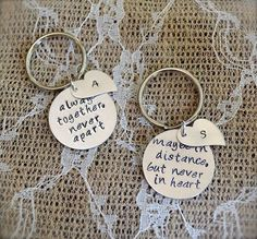 Long Distance Relationship or Best Friends Keychain Set - Always Together, Never Apart with Silver Heart Tags and Initials. What a perfect custom keychains!
