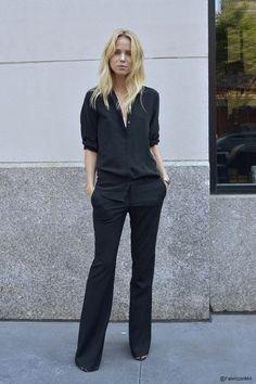 Simple black slacks and blouse