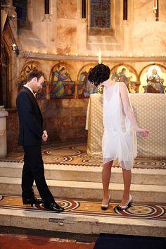 lovely flapper style short wedding dress, krisatomic blog