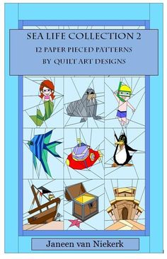 Sea Life Collection 2 E-Book 12 Paper pieced PDF patterns quiltartdesigns.blogspot.com