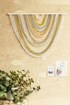 Yellow and Gray Yarn Tapestry | Awesome Yarn Wall Hangings Ideas | Excellent Gifts This Christmas