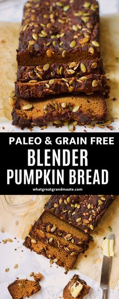 Delicious and easy blender pumpkin bread to welcome Fall! This paleo and grain free bread is so moist and flavorful, and it's a nut free as well. Perfect for breakfast or as a snack. #paleo #grainfree #pumpkinrecipe #blenderbread #glutenfree #dairyfree #nutfree Breakfast Items, Paleo Breakfast, Breakfast On The Go, Pumpkin Spice Syrup, Pumpkin Bread, Grain Free Bread, Pumpkin Recipes, Fall Recipes, Dinner Recipes