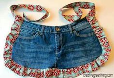 Farm Girl Apron Tutorial from Recycled Jeans ~ Creative Green Living. apron without the top half. Sewing Aprons, Sewing Clothes, Diy Clothes, Jean Apron, Apron Tutorial, Diy Tutorial, Cute Aprons, Denim Ideas, Denim Crafts