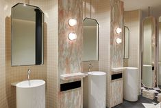 Timber Panelling, Public Bathrooms, Bronze Mirror, Pink Marble, Commercial Interiors, Bathroom Flooring, Interior Paint, Hospitality, Interior Architecture