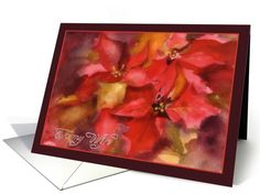 to my wife, Christmas card, Poinsettias, watercolor painting card