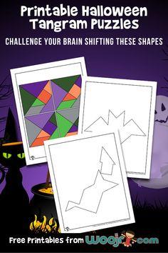 Printable Halloween Tangram Puzzles Halloween Puzzles, Halloween Crafts For Kids, Halloween Activities, Activities For Kids, Halloween 2019, Tangram Printable, Printable Puzzles For Kids, Geometry Lessons, Geometry Activities