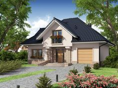 Zdjęcie projektu Diogenes WRW1116 Bungalow House Plans, Bungalow House Design, Dream Home Design, Home Design Plans, Burbank Homes, Carriage House Plans, Beautiful House Plans, Model House Plan, New Home Designs