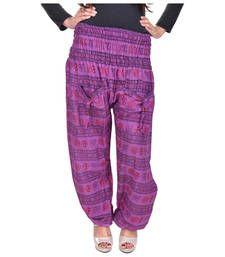 Buy Purple Jaipuri Printed Cotton Free Size Pyjama pyjama online