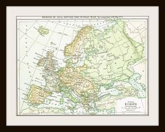 1925 EUROPE Antique Map