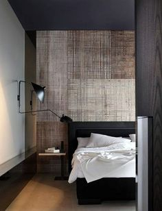 Male Bedroom Design With Creative Wallpaper