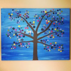 My own painting off tree with buttons. I saw the idea on internet once but made it my own colors and style. It has almost 300 buttons in different colors. #DIY #creativity #painting #pictures #wall #home #interior #inspiration #details #decorations #colors #buttons #styles #interiør #hjemme #bilder #maleri #kreative #inspirasjon #detaljer #dekorasjoner #farger