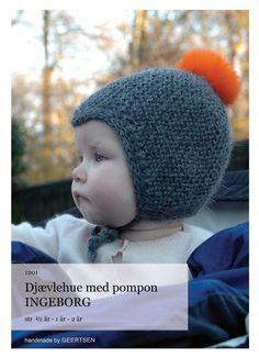 Djævlehue med pompon 6 months to 2 years Baby Hats Knitting, Knitting For Kids, Baby Knitting Patterns, Baby Patterns, Knitted Hats, Bonnet Crochet, Knit Or Crochet, Crochet For Kids, Crochet Baby