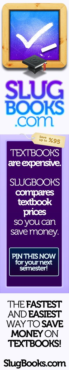 Get your books cheaper! Slugbooks compares textbook prices so you can save money.