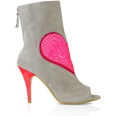 Konstantina Tzovolou Deeva Mesh Heart Gray Fuschia Bootie (£210) ❤ liked on Polyvore featuring shoes, boots, ankle booties, booties, heels, gray open toe booties, open toe ankle boots, block-heel ankle boots, gray booties and block heel booties