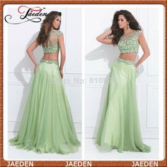New Arrival 2014 Fashion Design Two Pieces Prom Dresses For Girls Cap Sleeves Sexy Lady Evening Party Gowns Custom $108.00