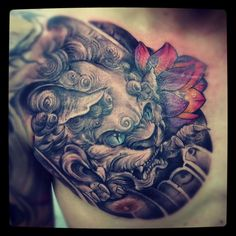 Chinese foo dog tattoo by Monkeytoy #fudog #foodog #fulion #chinese
