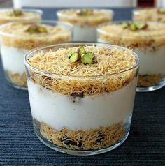 Tel Kadayıflı Muhallebi / Milk Pudding with Shredded Kadayif – inci tadında