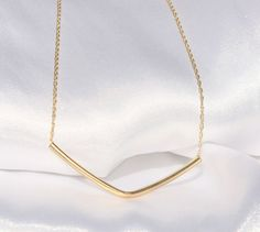 Chevron necklace delicate gold geo necklace V by JulJewelry