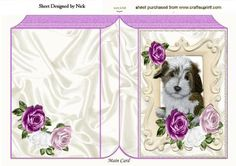 Cute puppy in ornate frame with pink roses folded book on Craftsuprint - Add To Basket!