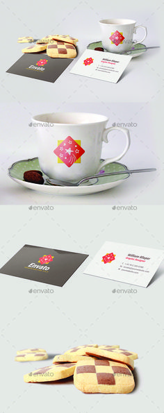 Branding Coffe Cup with Business Card Mockup by Info_Max ·Branding Coffee Cup with Business Card Mock up, This is photorealistic mock-up based on professional photos! Save time and money