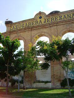 Azucarera Jerezana, barriada rural de El Portal (Jerez de la Frontera-Cádiz-España), con sus nidos de cigüeñas