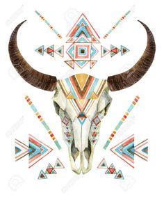 Cow skull in tribal style. Animal skull with ethnic ornament. Buffalo skull isolated on white background. Wild and free design. Cow Skull Art, Skull Wall Art, Skull Decor, Crane, Painted Cow Skulls, Hand Painted, Style Tribal, Buffalo Skull, Buffalo Wild