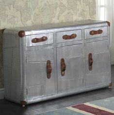 Vintage Industrial Sideboard Large Storage Furniture Metal Cabinet Retro Drawers