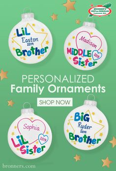 Find the perfect Christmas ornament to celebrate friendships, new homes, or have one personalized with the names of your entire family, including the dog. Personalized Family Ornaments, Big Brother Little Brother, Glass Ornaments, Christmas Ornaments, Christmas Wonderland, How To Make Ornaments, Love Heart, Friends Family, Unique Gifts
