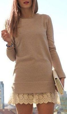 Sweet Round Collar Laced Long Sleeve Dress ==