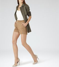 Womens Tan Suede Shorts - Reiss Paris