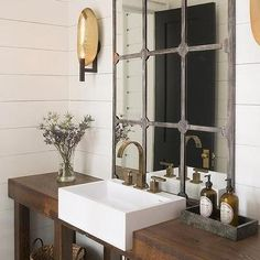 Rustic Washstand with Apron Sink, Cottage, Bathroom
