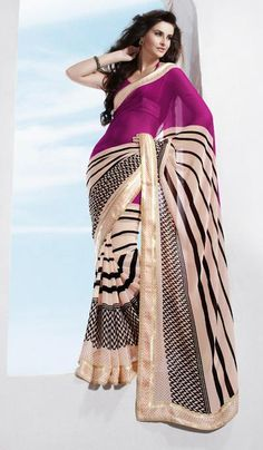 G3 fashions Peach Magenta Georgette Printed Party Wear Designer sarees.  Product Code : G3-LS10241 Price : INR RS 1440
