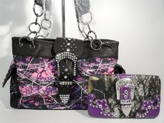 Purple Mossy Oak Handbags Wholesale Only | MUDDY GIRL PURPLE CAMO CONCEALED WEAPON RHiNESTONE BELT BUCKLE PURSE ...