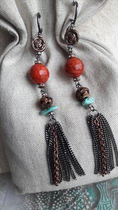 """Стильные серьги """"Breath of a rose"""" от Carmela Walley. Натуральные материалы: коралл губчатый терракотовый, резная кость, бирюза (месторождение - Унгурликан, Кураминский хребет, Узбекистан). Цена: 2.500 руб Доставка по всему миру. Подробнее в альбоме Серьги:  https://www.facebook.com/photo.php?fbid=121245228452598&set=a.121245131785941.1073741831.100017013644591&type=3&theater"""