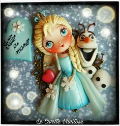 Elsa Frozen polymer clay fimo Polymer Clay Ornaments, Polymer Clay Figures, Polymer Clay Canes, Polymer Clay Dolls, Polymer Clay Jewelry, Clay Dragon, Chibi, Clay Design, Clay Tutorials
