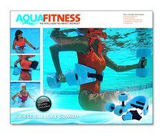 Aqua Fitness Exercise Set - 6 Piece Set - Water Workout and Aerobics - Floatation Belt, Resistance Gloves, Barbells by Aqua Leisure