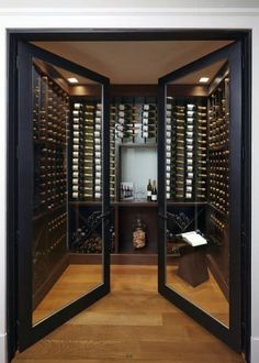 Top 80 Best Wine Cellar Ideas - Vino Room Designs Cave A Vin Design, Wine Cellar Design, Wine Cellar Modern, Glass Wine Cellar, Home Wine Cellars, Double Glass Doors, Wine Tasting Room, Home Bar Designs, Wine Wall