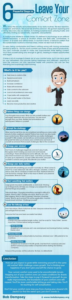 leeeeexyyyy Comfort Zone: 6 Powerful Steps to Leave It [by Bob Dempsey -- via #tipsographic]. More at tipsographic.com