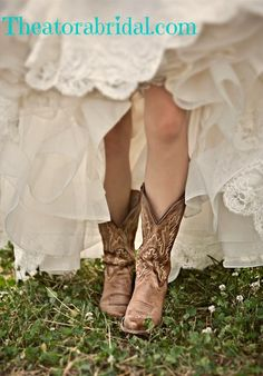 Vintage Lace gown with cowboy boots, Perfect for a rustic, barn, or shabby chic wedding! Theatorabridal.com