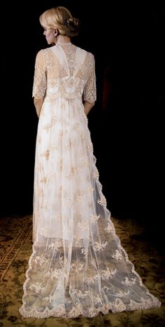 Wedding Dress of French Alencon Lace over double silk satin slip dress. Wedding Dress with sleeves. Vintage Inspired Wedding Dress.