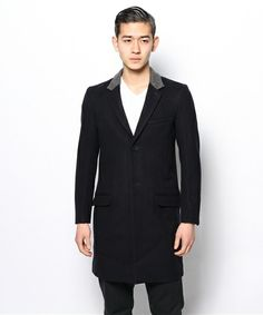 And A HOMME(アンドエーオム)のWOOLメルトン CHESTER COAT(チェスターコート)|ブルー